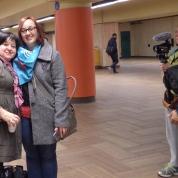 Lors de l'action à la Journée nationale des centres de femmes du Québec